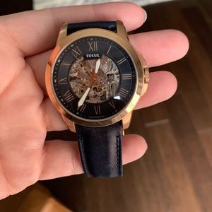 Fossil Grant Automatic Blue Leather Watch